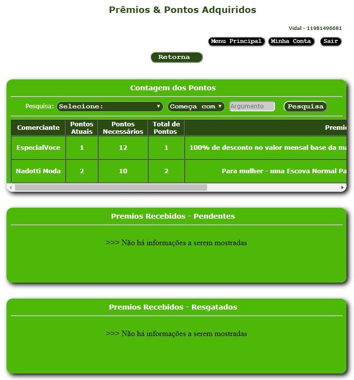 Consulta de pontos por loja ou prestador de serviços